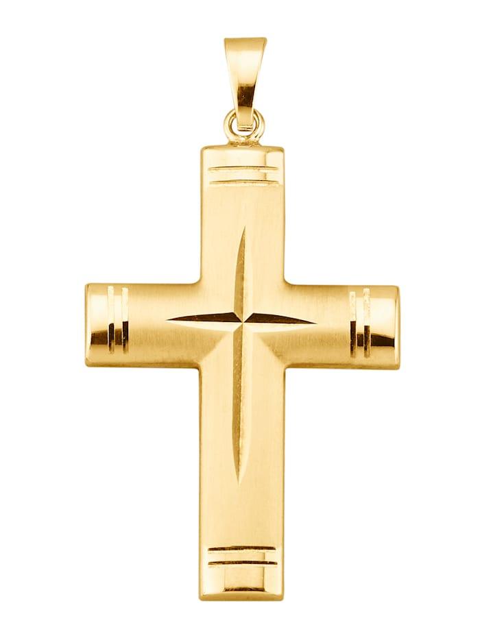 Kreuz-Anhänger, Gelbgoldfarben