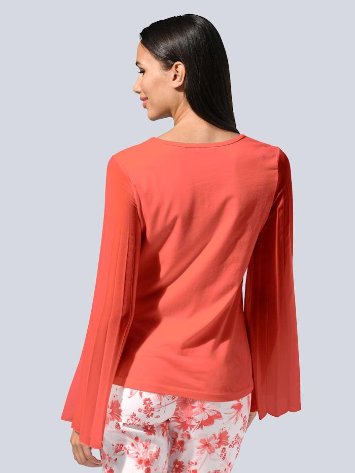 Shirt met plissémouwen van chiffon