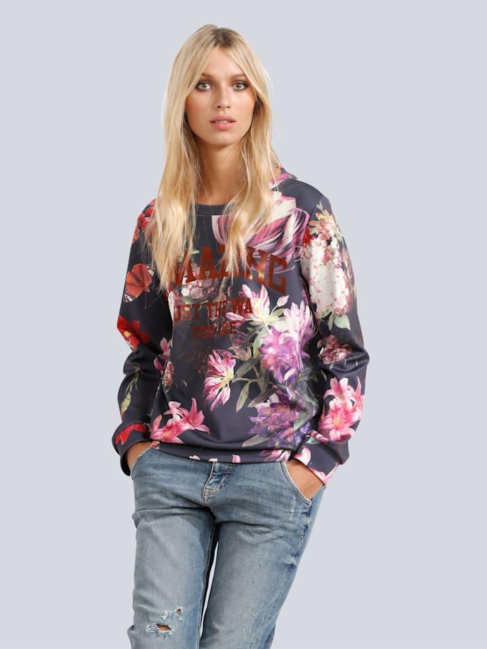 Sweatshirt allover Blumenprint und Schriftzug im Vorderteil