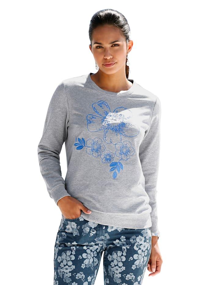 AMY VERMONT Sweatshirt mit Stickerei und Perlendekoration, Grau