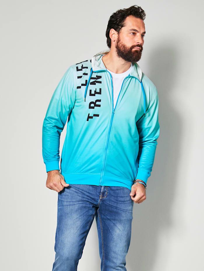 Men Plus Sweatvest met modieus kleurverloop, Turquoise