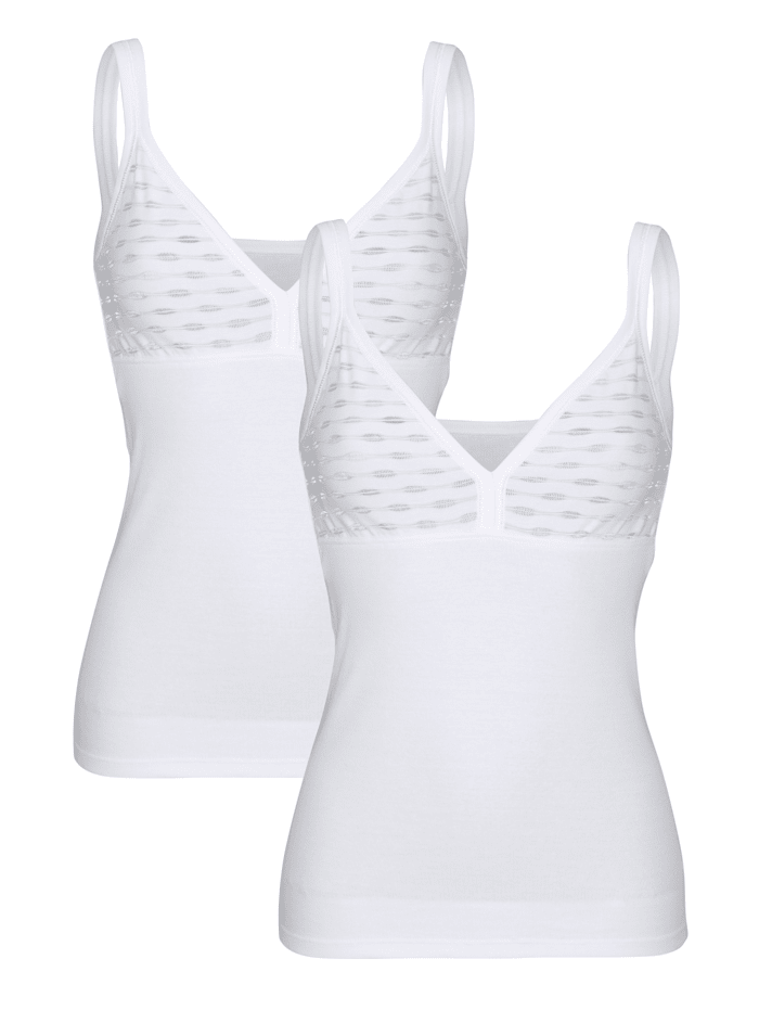 Harmony BH-Hemd im 2er-Pack mit geschmücktem Büstenteil, Weiß