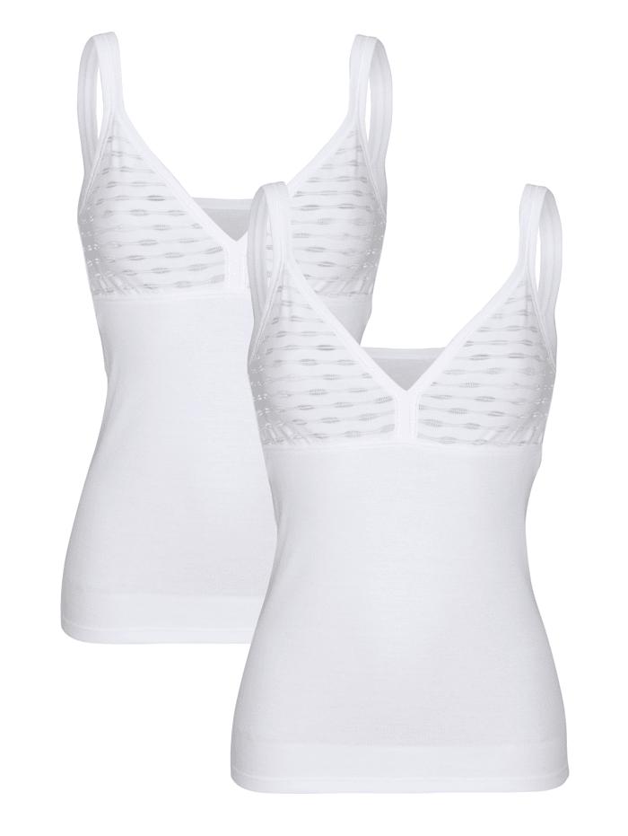 Harmony BH-Hemden im 2er-Pack mit geschmücktem Büstenteil, Weiß
