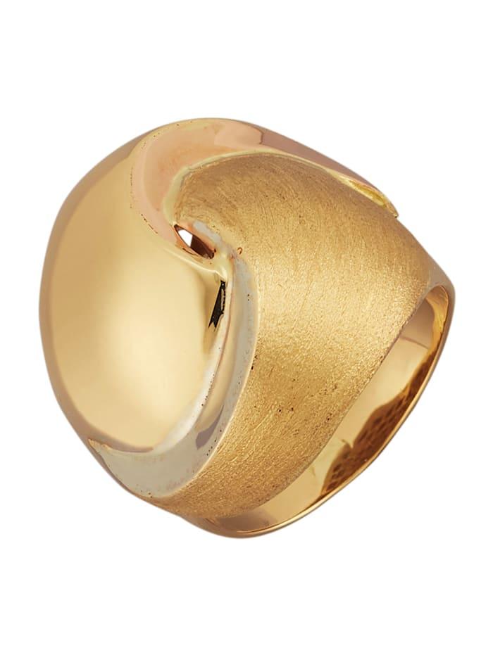 Diemer Gold Damenring tricolor, Gelbgoldfarben