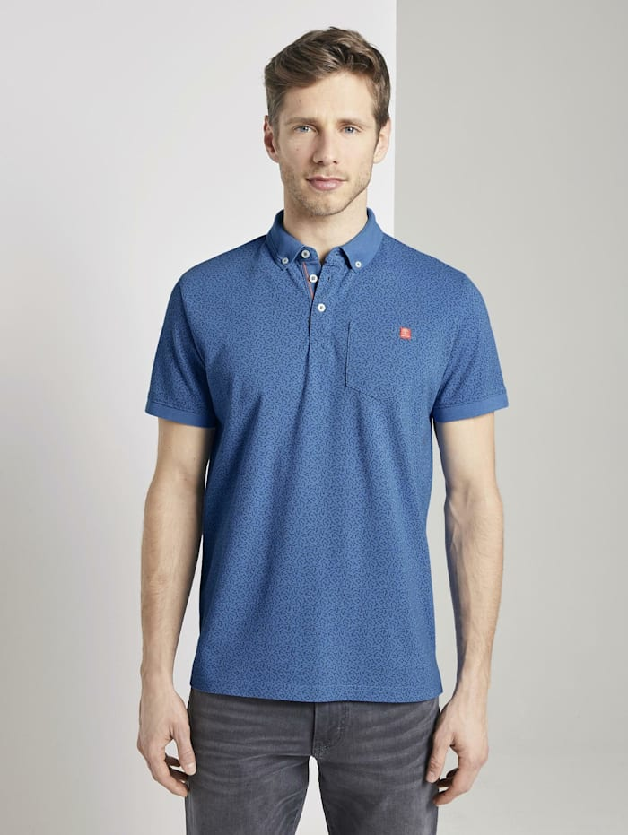 Tom Tailor Gemustertes Poloshirt, victory blue white melange