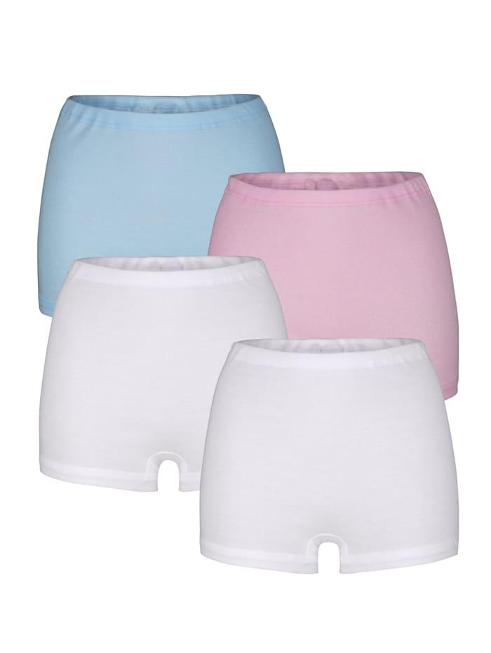 Harmony Trosor med korta ben i vitt och fräscha pasteller, 2 vita, 1 rosa, 1 ljusblå