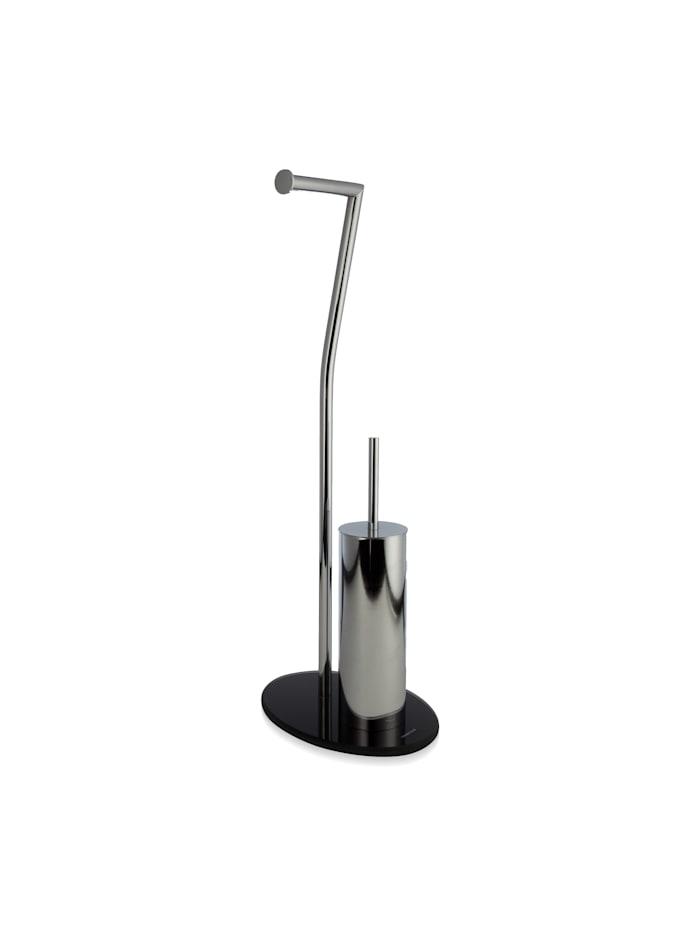 Möve Toilettenbürsten-Set Stand 28x20x72cm , Edelstahl, Glas, stainless steel/black
