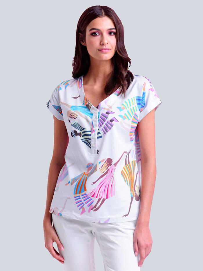 Alba Moda Blouse met kleurrijke motiefprint allover, Wit/Multicolor