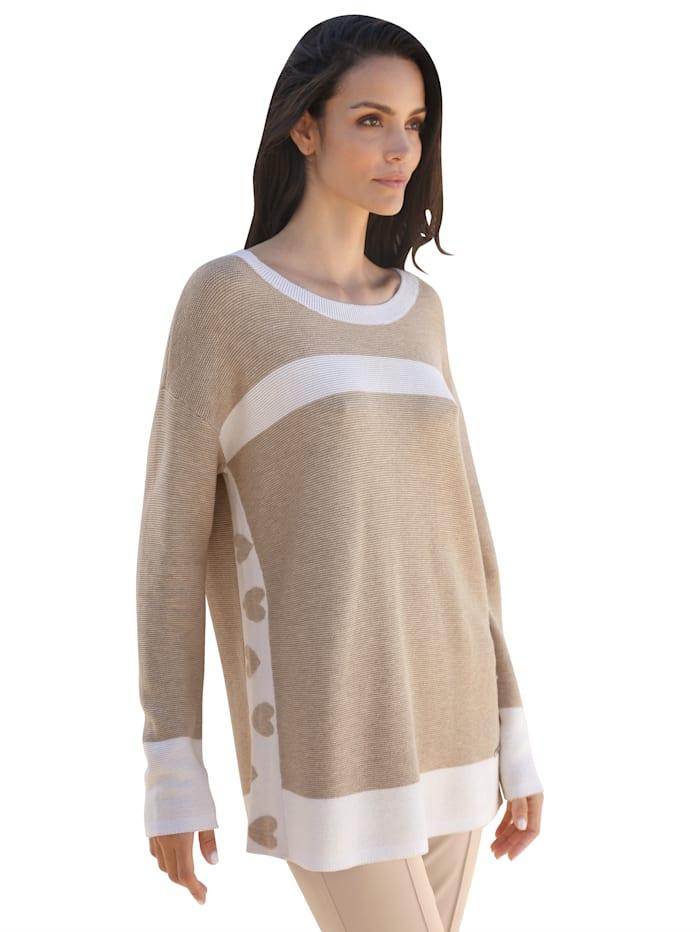 AMY VERMONT Pullover mit Streifen in Kontrastfarbe, Beige/Weiß