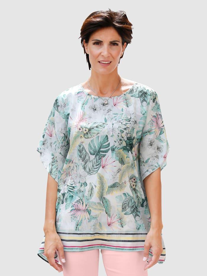 Paola Cafetan à imprimé estival, Blanc/Vert/Jaune