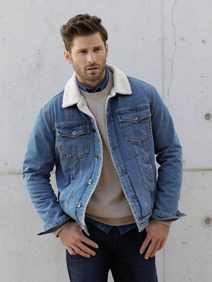 Jeansjacke mit warmem Teddyfutter
