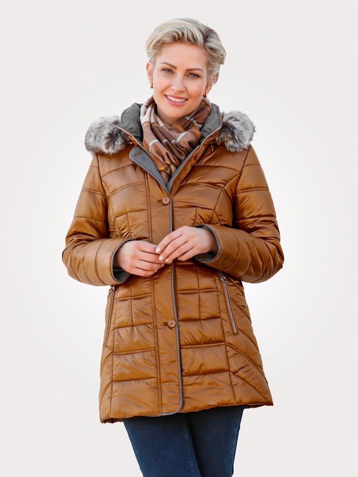 MONA Quilted jacket with an elegant sheen, Ochre Yellow