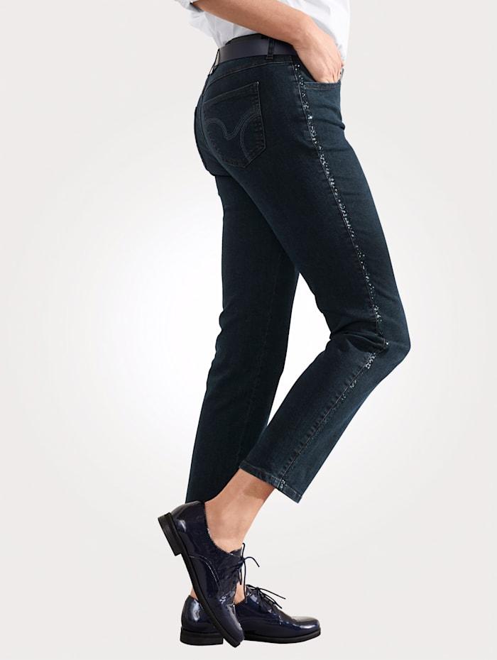 Jeans mit Paillettenband
