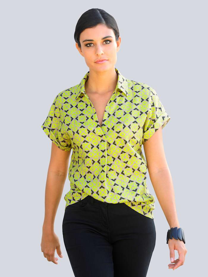 Alba Moda Bluse im neu designten Druckdessin allover, Beige/Limettengrün
