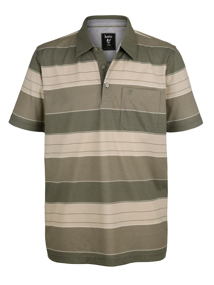 Hajo Poloshirt mit garngefärbtem Streifenmuster rundum, Sand/Khaki/Oliv