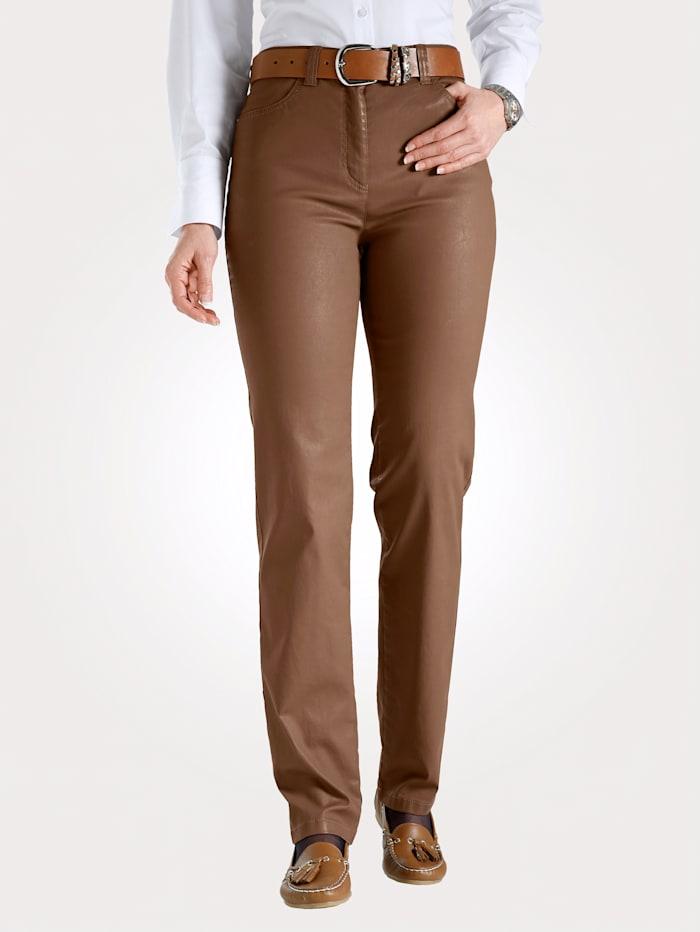 Toni Pantalon 5 poches en cuir synthétique, Cognac