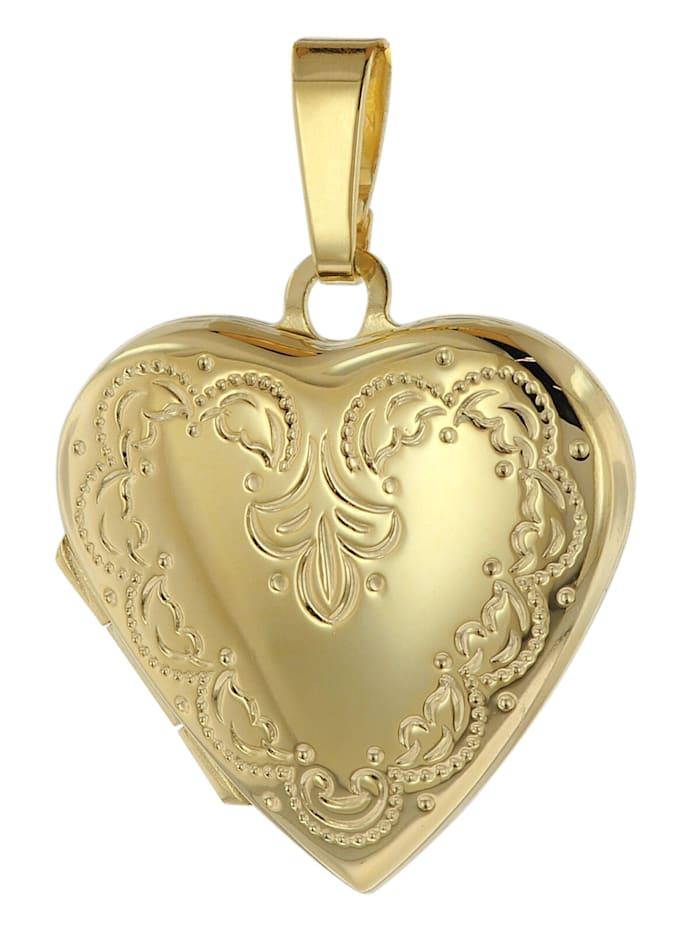 trendor Medaillon Anhänger Herz Gold 333 / 8 Karat, Goldfarben