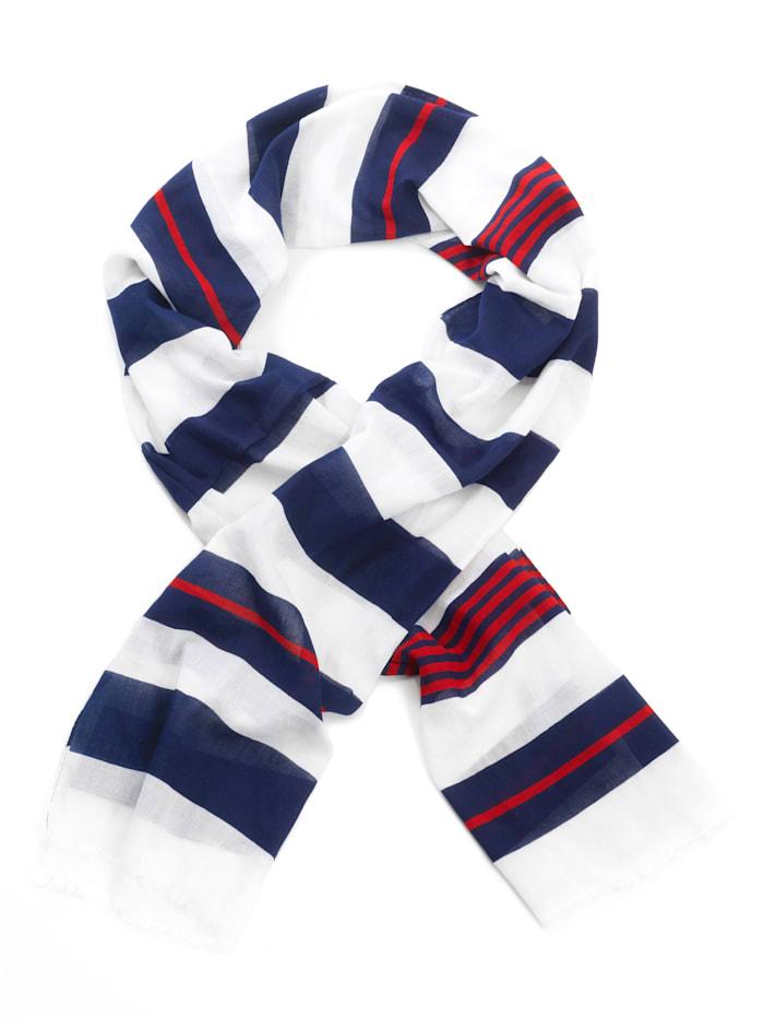 Fraas Sjaal met maritiem dessin, wit/marine/rood