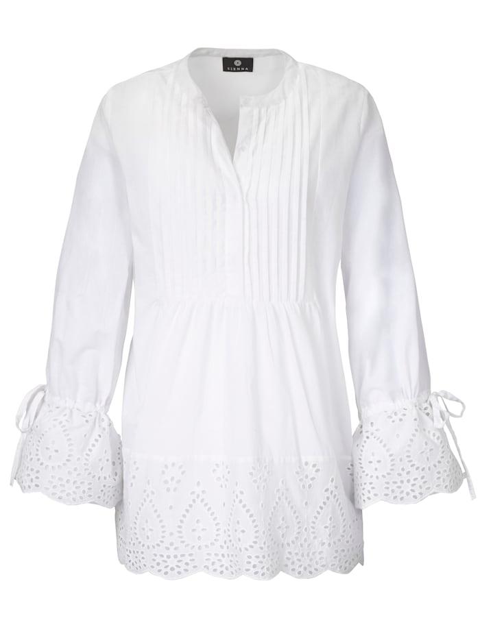 SIENNA Bluse mit Biesen und Lochstickerei, Weiß