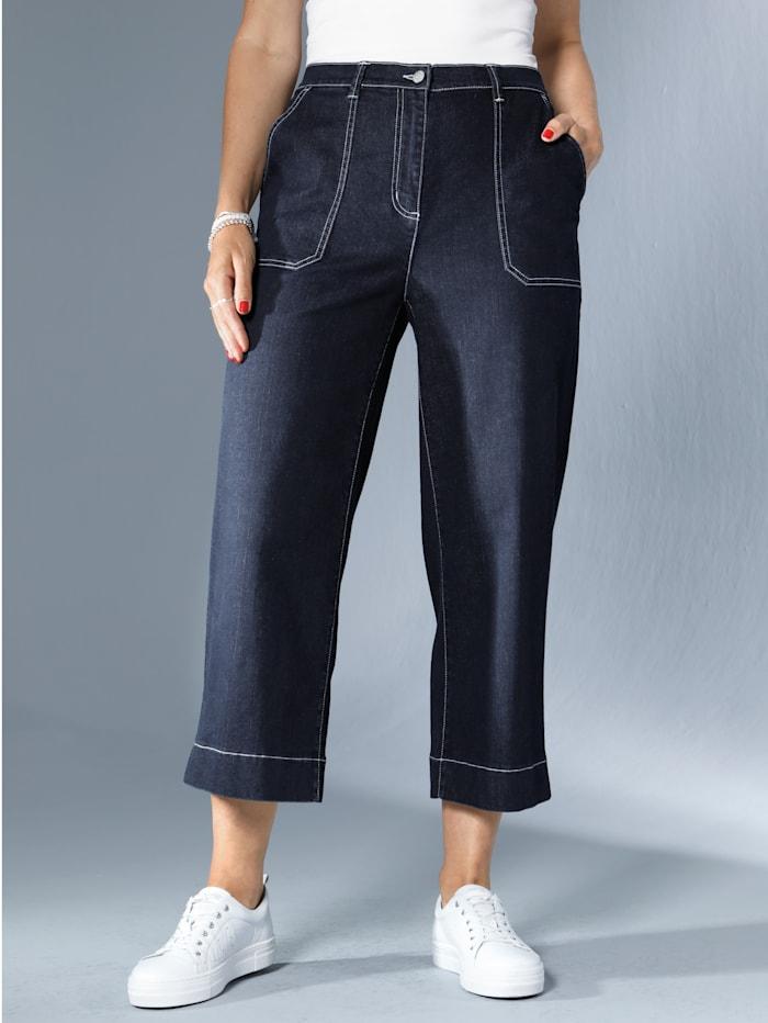 MIAMODA Jeans-Culotte mit kontrastfarbenen Nähten, Dark blue