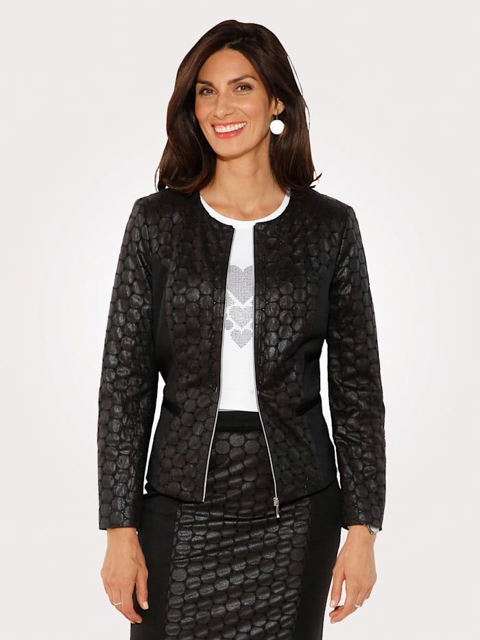 Blazer with faux leather detailing