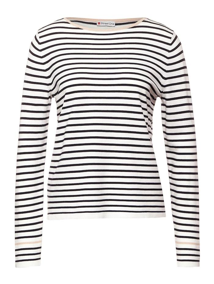 Street One Pullover mit Streifen, off white