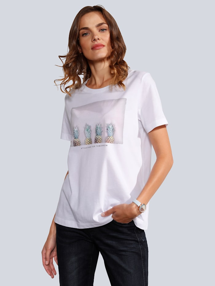 MARGITTES T-Shirt mit Ananasdruck, Weiß