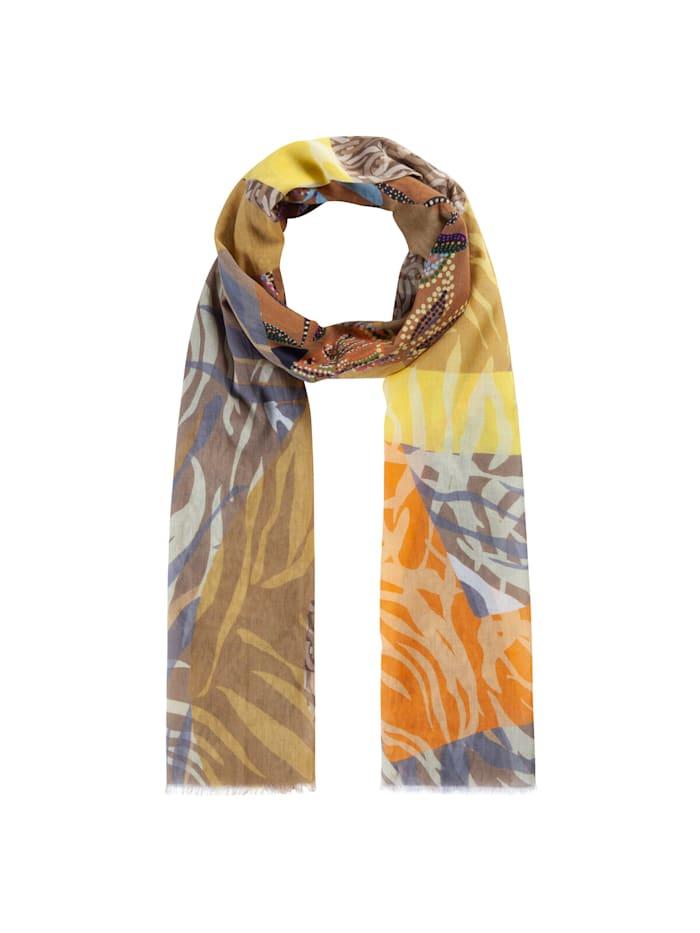 Codello Exotischer Mustermix-Schal aus reiner Baumwolle, beige