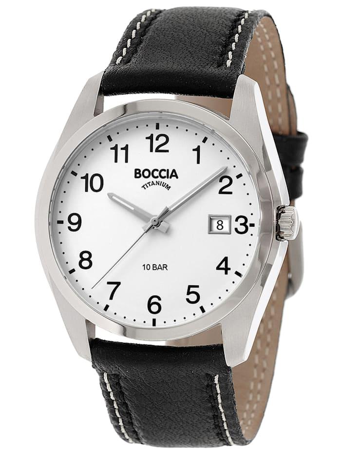 Boccia Titan Herrenuhr mit schwarzem Lederband, Weiß