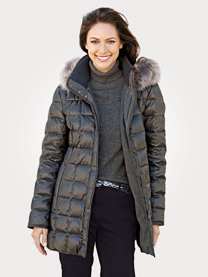 Down jacket with faux fur