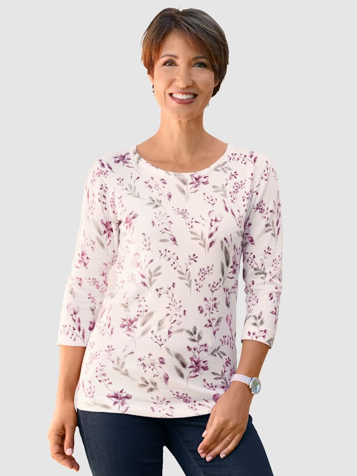 Paola Pullover mit floralem Design, Weiß/Rosé