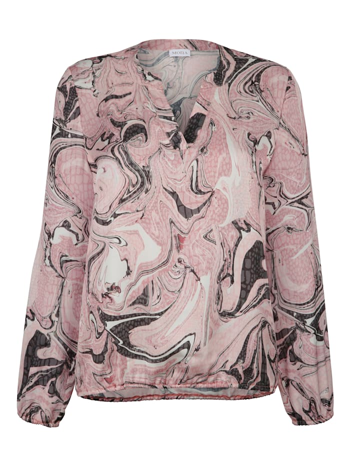 Pull-on blouse with an abstract print