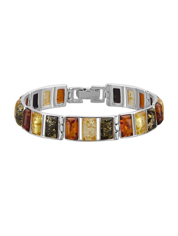 Armband mit Bernsteinen, Silberfarben