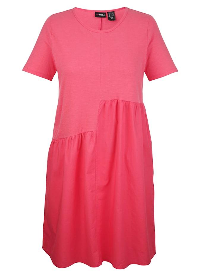 MIAMODA Kleid mit gewebtem Einsatz, Koralle