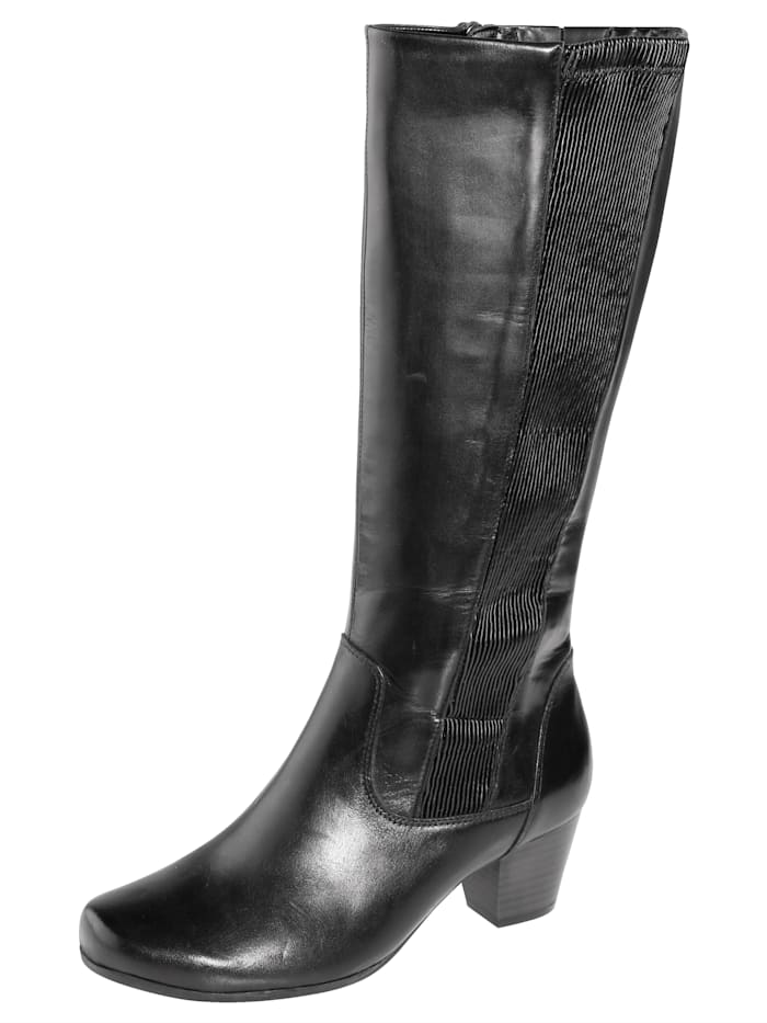 Knee high boots with elasticated inserts