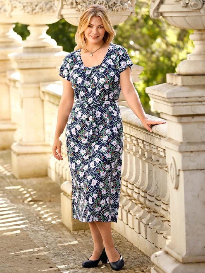 m. collection Jersey jurk met bloemendessin, Marine
