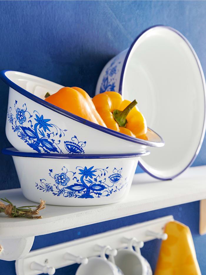 Krüger 3 skålar med klassiskt lökmönster, vit/blå