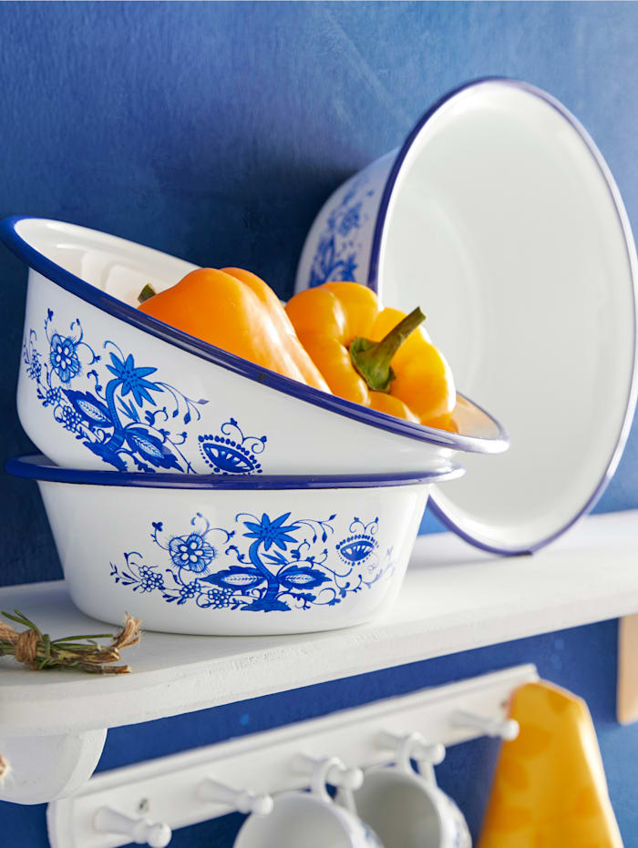 Krüger Lot de 3 saladiers à décor floral bleu, Blanc/Bleu