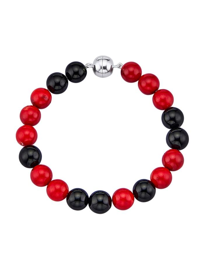 Armband mit Onyx und Bambus-Koralle, Multicolor