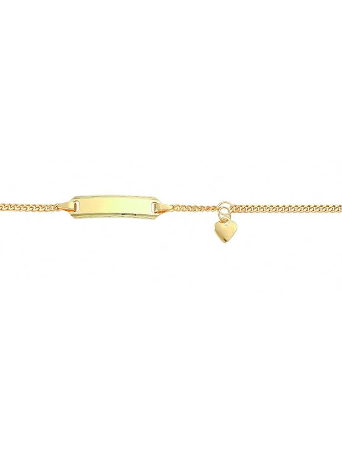 1001 Diamonds Damen Goldschmuck 333 Gold Flach Panzer Armband Mit Motiven 14 cm Ø 1,7 mm, gold