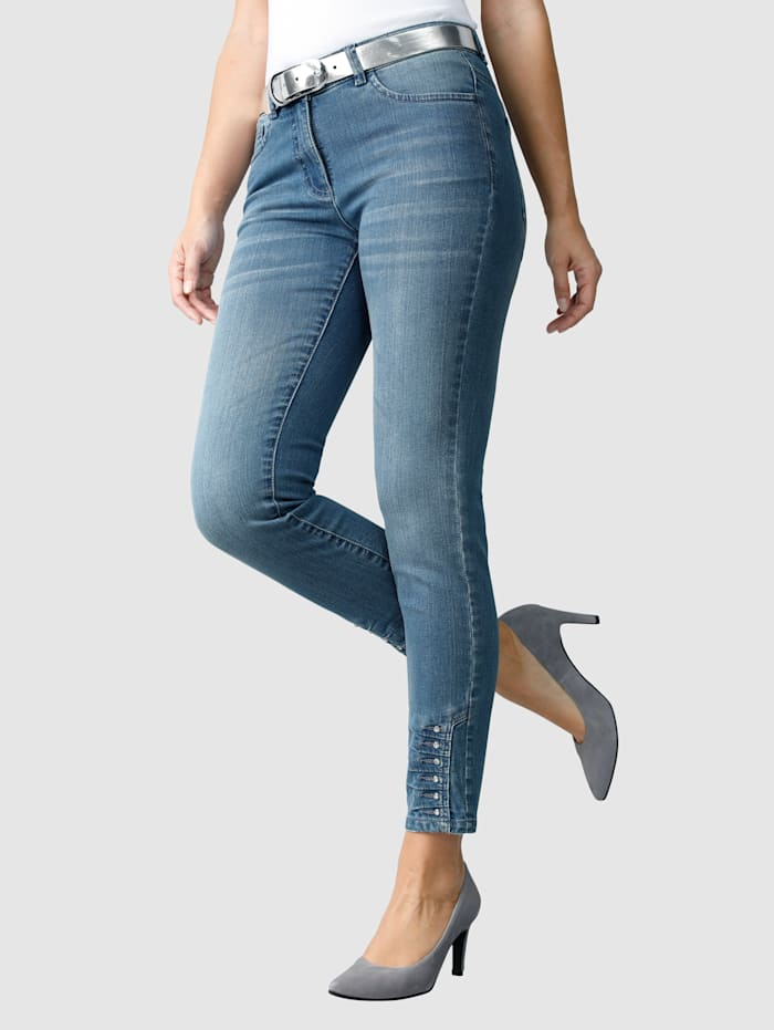 Laura Kent Jeans mit Ziersteinen am Saum, Light blue