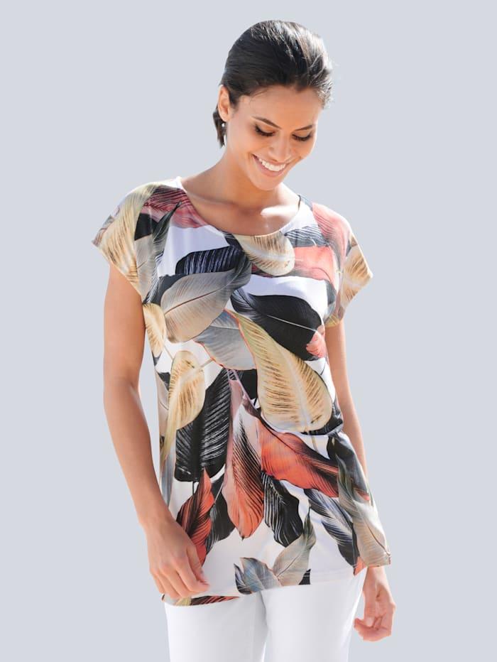 Alba Moda Strandshirt mit Blättermotiv, Wollweiß
