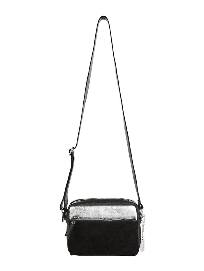 MONA Umhängetasche aus hochwertigem Leder, Schwarz/Silberfarben