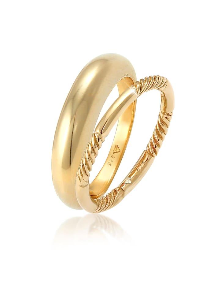 Elli Ring Bandring Gedreht Basic 2Er Set 925 Silber, Gold