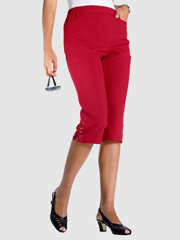 m. collection Capri kalhoty se šněrováním na lemu, Červená