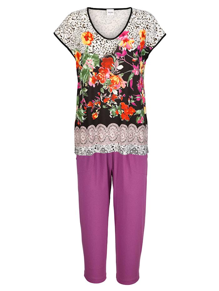 Maritim Strandpak met bloemenprint, Pink/Zwart/Wit