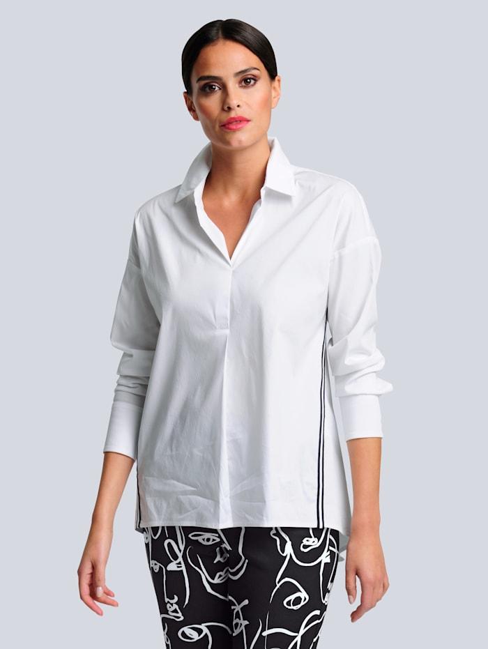 Alba Moda Bluse mit kontrastfarbigem Tape, Weiß/Schwarz