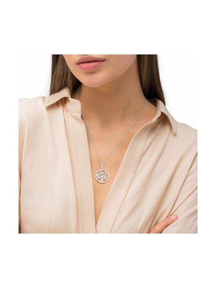 Kette mit Anhänger für Damen, Sterling Silber 925, Zirkonia Herz