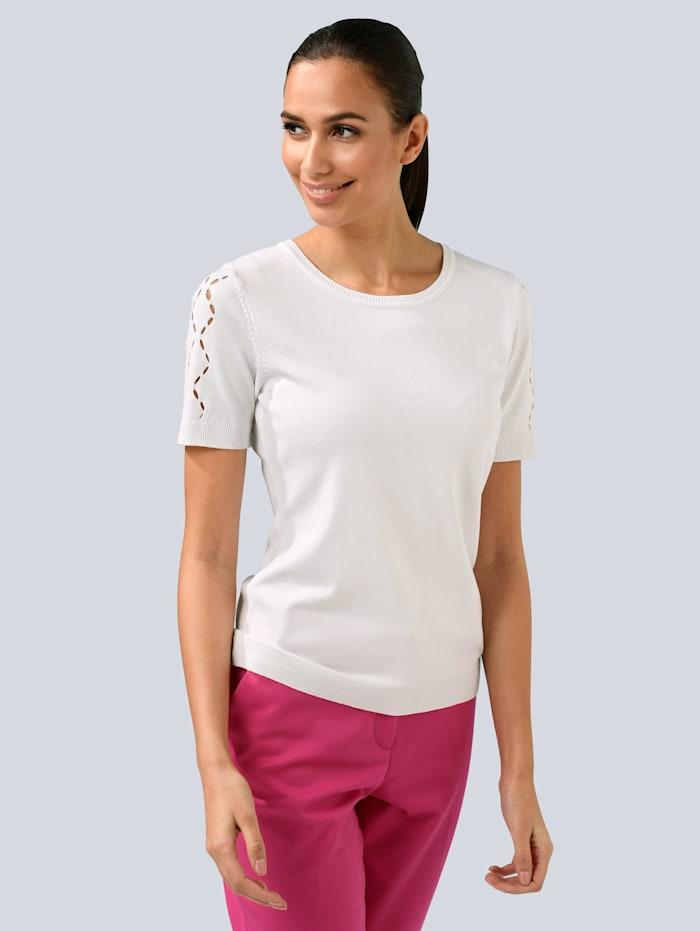 Alba Moda Pullover mit Cut-Outs am Arm, Weiß