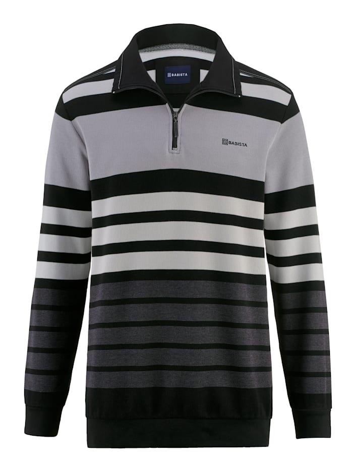 BABISTA Sweatshirt met ingebreid streepdessin, Grijs/Zwart